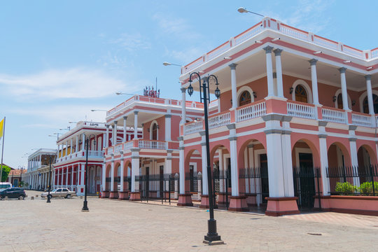 Pink traditional building in Granada, Nicaragua