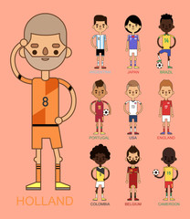National Euro Cup soccer football teams vector illustration and world game player captain leader in uniform sport men isolated characters.