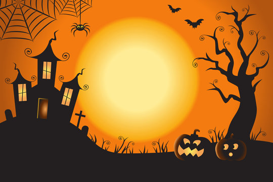 Halloween Spooky Nighttime Scene Horizontal Background 1