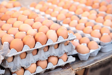 Egg Crates of brown and white eggs at a local farmers market