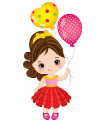 Vector Cute Little Girl with Balloons