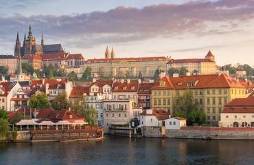 Prague castle in sunrise with beautiful vanilla sky , Prague