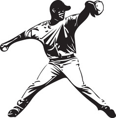 Illustration of baseball player playing