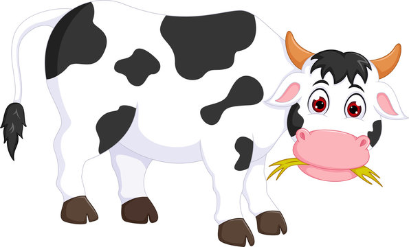 funny cow cartoon standing with eating