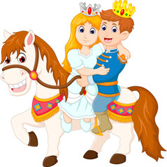 sweet king and queen couple cartoon up horse