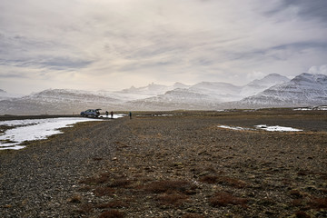 Icelandic landscape of rocky valley