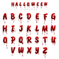 Halloween bloody alphabet isolated on white background. Horror scary drip blood font vector illustration