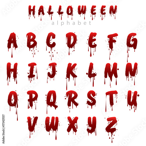 Halloween bloody alphabet isolated on white background. Horror scary ...