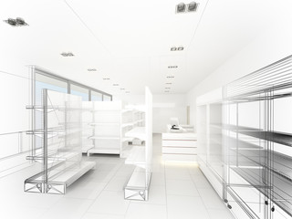 sketch design of supermarket ,3d  rendering