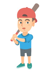 Young caucasian boy playing baseball. Happy smiling baseball player holding a wooden baseball bat. Little softball player. Vector sketch cartoon illustration isolated on white background.