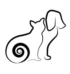Cat and dog silhouette icon vector