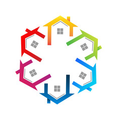 Teamwork real estate houses icon vector