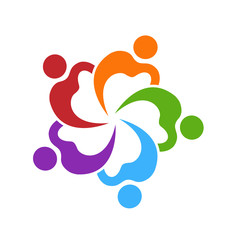 Teamwork colorful people working together, icon vector