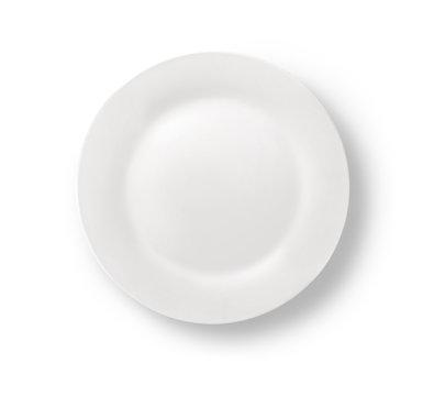 Blank white dinner plate on white.