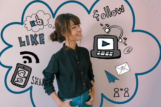 A portrait of a young asian woman with social media illustrator doodles - digital lifestyle concept