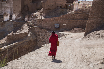 LADAKH, INDIA - 2 MAY 2016: An unidentified Buddhist monk standing in a beautiful temple in Ladakh , India