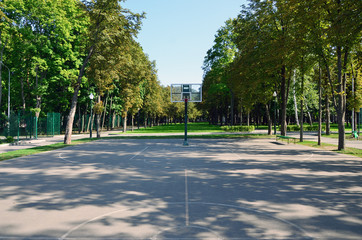 Empty street basketball court. For concepts such as sports and exercise, and healthy lifestyle