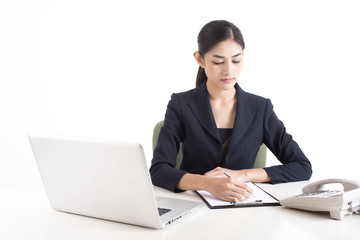 Asian Woman using laptop for work with attractive smiling, Woman working concept, Isolated on white background.