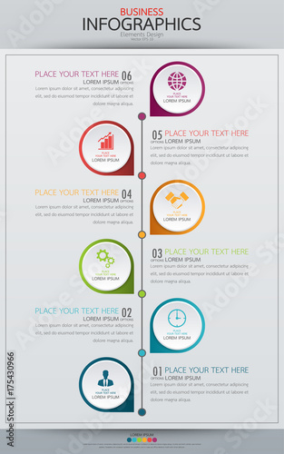 infographic business vertical timeline process chart template