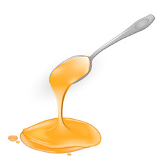 A spoon of honey on a white background. Linden natural product. Isolated. Vector.