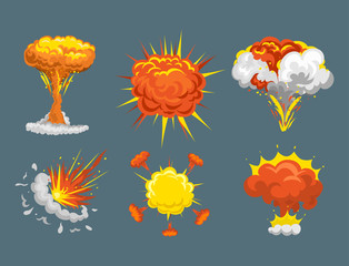 Cartoon explosion boom effect animation game sprite sheet explode burst blast fire comic flame vector illustration.