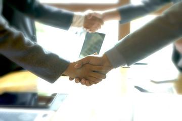 Businessman hand together Handshake for business project