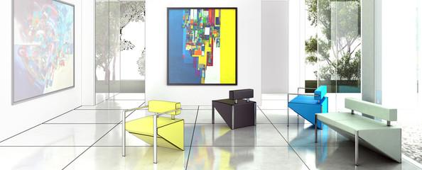 Contemporary Art Exhibition (panoramic)