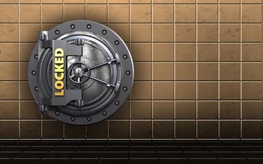 3d safe locked vault door