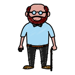 Cute grandfather cartoon icon vector illustration graphic design