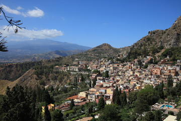 The Small Village Taormina on Sicily. Italy