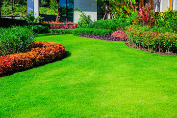Landscape formal, front yard is beautifully designed garden.