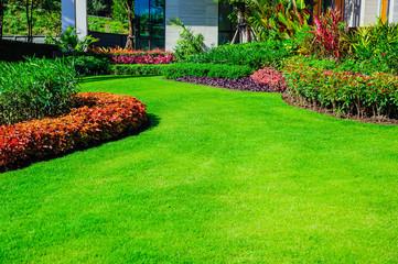 Landscape formal, front yard is beautifully designed garden. Fototapete