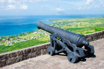 Cannon Brimstone Hill Fort, St. Kitts. Caribbean Sea background view.