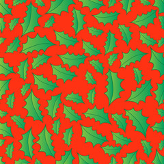 chrismas Seamless background with holly berry