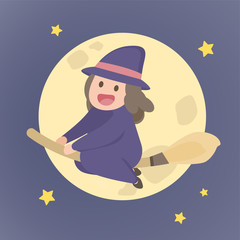 Cute witch girl flying on a broom, Cartoon Halloween holiday, vector illustration on a night background.