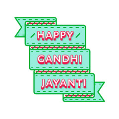 Happy Gandhi Jayanti day emblem isolated vector illustration on white background. 2 october indian national holiday event label, greeting card decoration graphic element