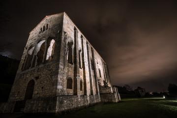 Catholic church of Santa Maria de Naranco at night