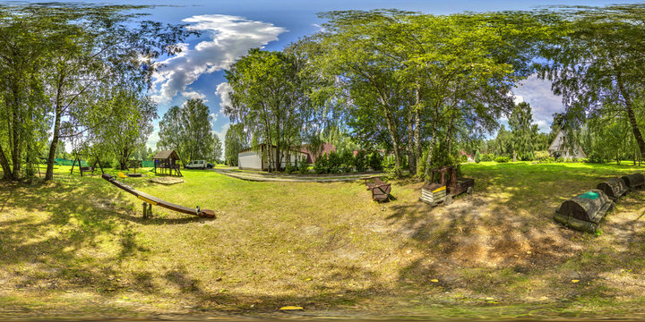 3D spherical panorama with 360 viewing angle. Ready for virtual reality or VR. Full equirectangular projection. Soft blue sky with green grass, garden, playground. at summer.