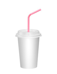 White paper cup with pink drinking straw