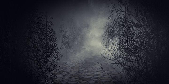 Jack O' lantern or halloween pumpkin in spooky dark forest.3d rendering.