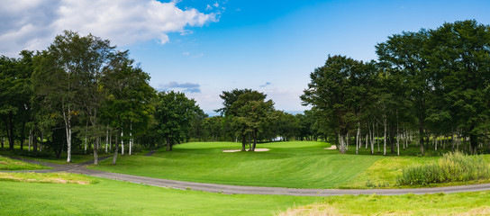 Golf Course where the turf is beautiful and green in Hokkaido, Japan. Golf is a sport to play on the turf