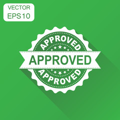 Approved seal stamp icon. Business concept approve accepted badge pictogram. Vector illustration on green background with long shadow.