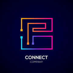 Letter F logo, Square shape, Colorful, Technology and digital abstract dot connection