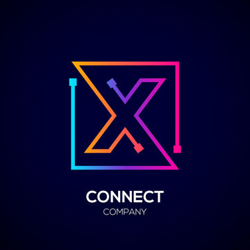 Letter X logo, Square shape, Colorful, Technology and digital abstract dot connection