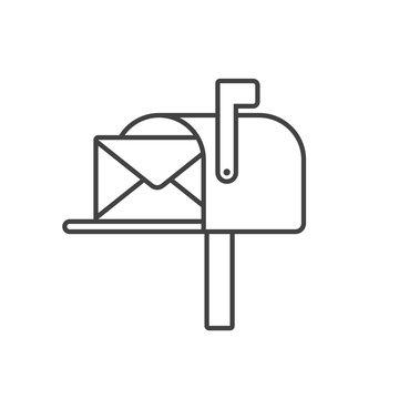 Mailbox line icon vector