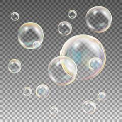 Soap Bubbles Vector. Rainbow Reflection Soap Bubbles. Aqua Wash. Isolated Illustration