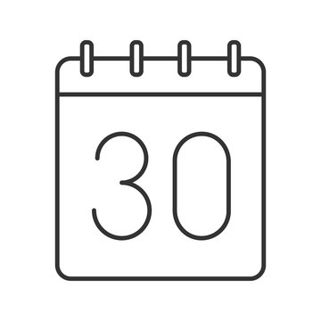Thirtieth day of month linear icon