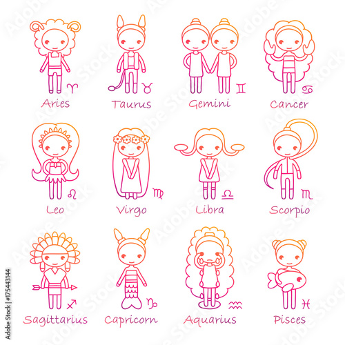 vector set of the twelve hand drawing Zodiac Signs Aries