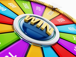 Wheel of fortune isolated on white background. 3D illustration
