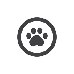 Paw print icon vector, filled flat sign, solid pictogram isolated on white. Symbol, logo illustration.